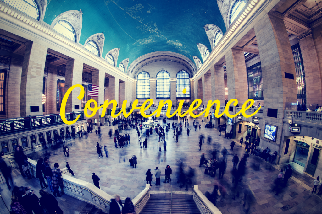 "People in Grand Central Station and the word ""Convenience"""