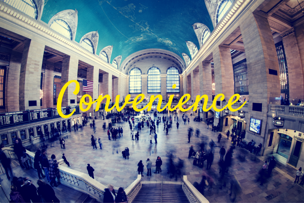 """People in Grand Central Station and the word """"Convenience"""""""