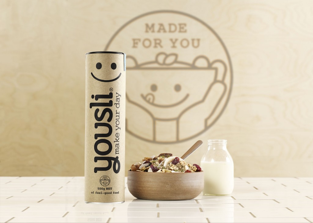 Yousli muesli box, bowl and milk