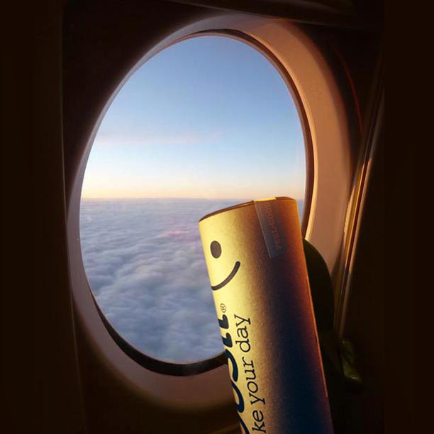 Yousli Mascot Flying to Europe