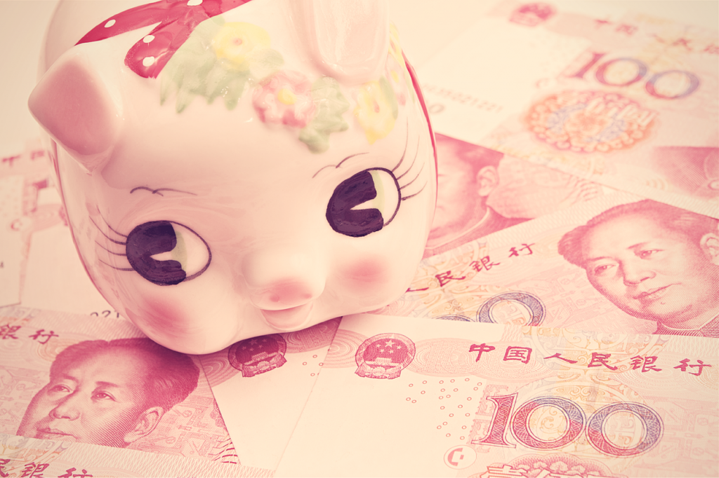 Chinese renminbi and piggy bank