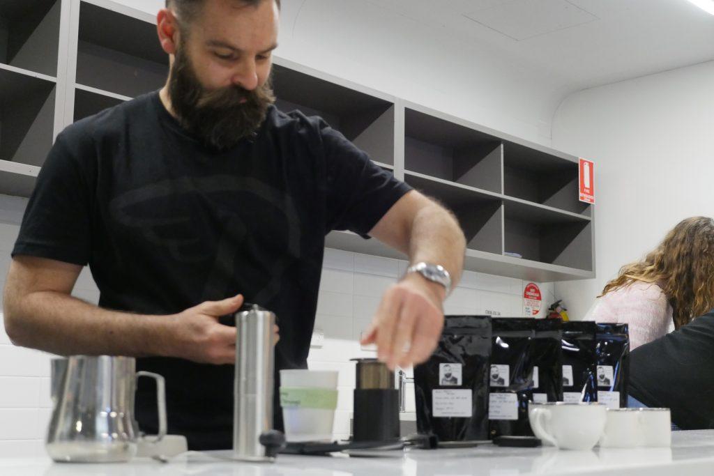 Tony preparing some aeropress coffee