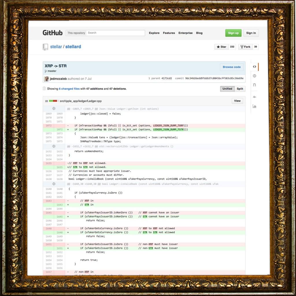 XRP -> STR commit Diff GitHub Screenshot