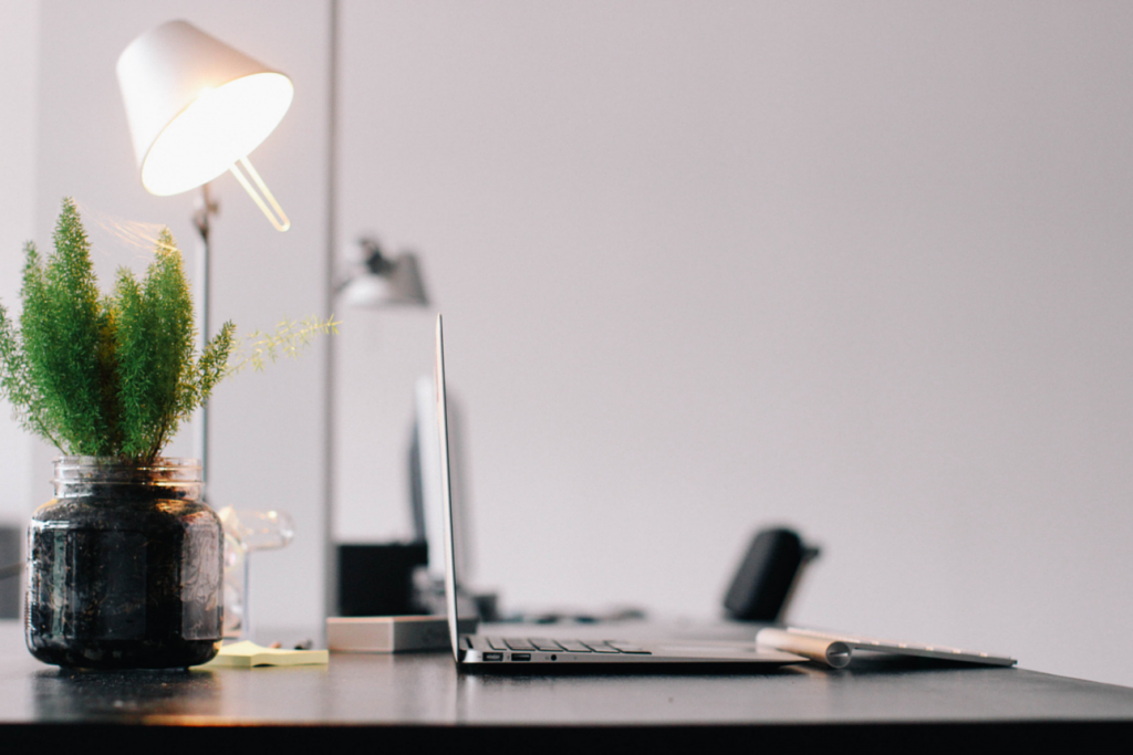 Desk, lamp, laptop and plant