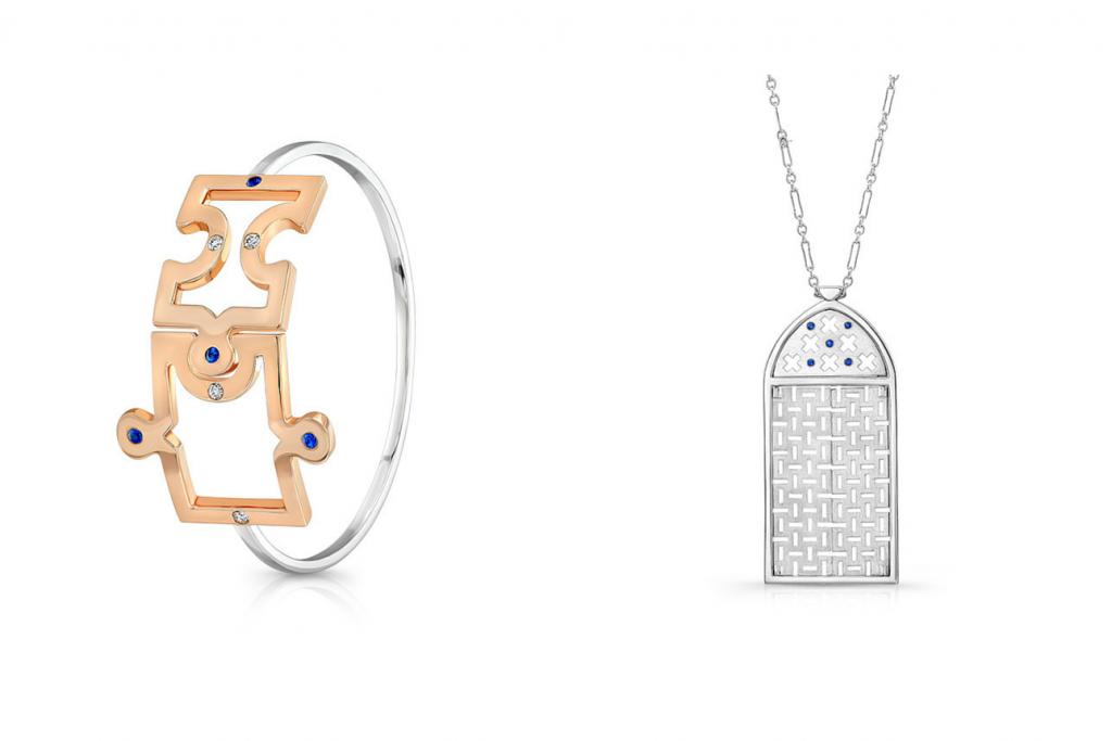 Dafina Jewelry Jigsaw Bracelet and Morocco Pendant