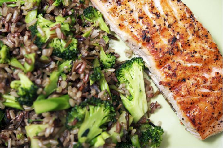 Salmon, broccoli and brown rice meal