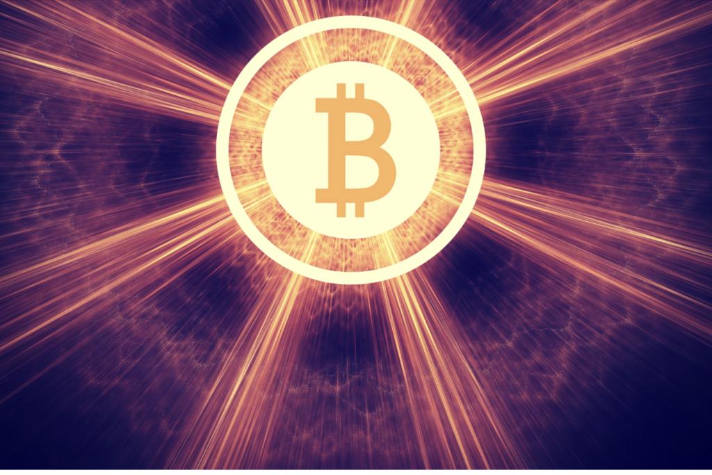 bitcoin coin in haze of light