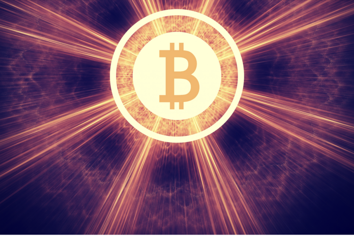Bitcoin coin in bright lights