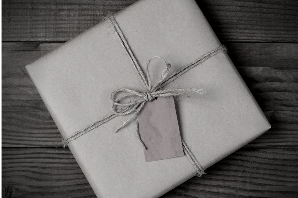 Square package wrapped in string