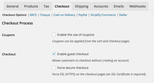 Enable guest checkout setting in WooCommerce