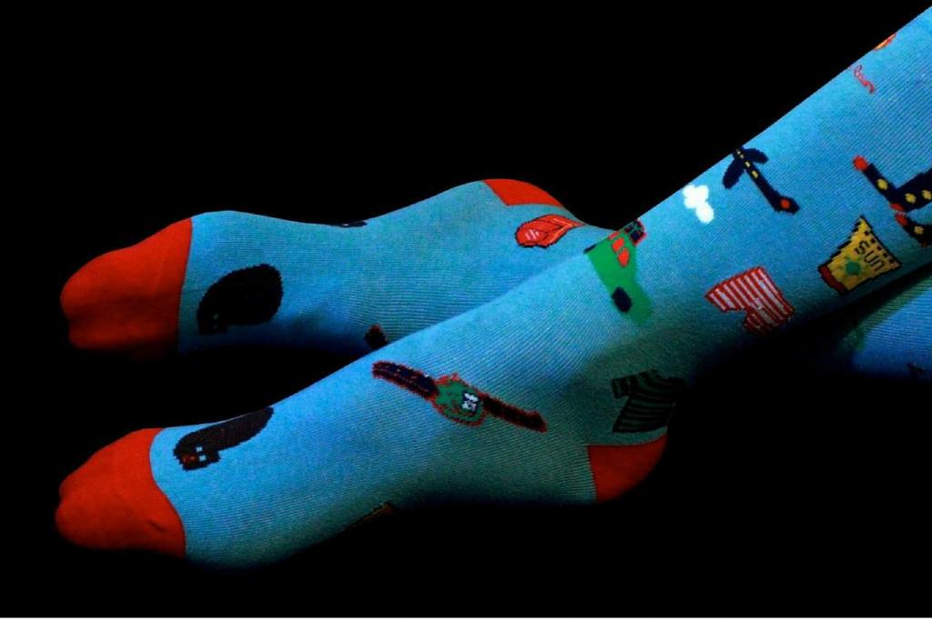 Bertrand's Proper Socks closeup of funky blue socks