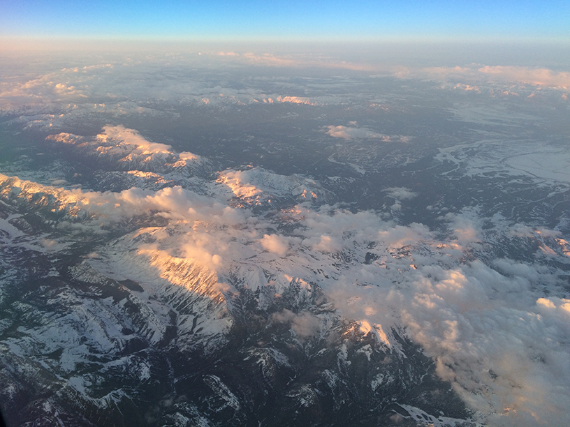 View of mountains from the plane window