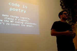 Joey at the WooCommerce meetup giving hints on good development practices