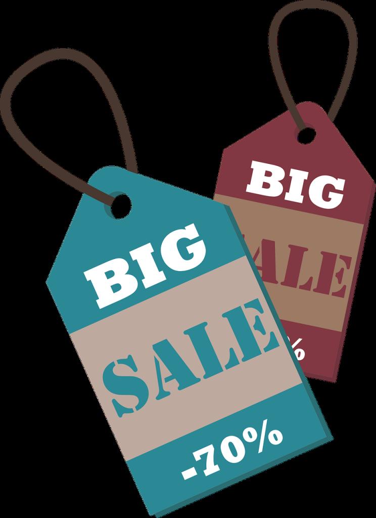 Price tags saying 'sale'
