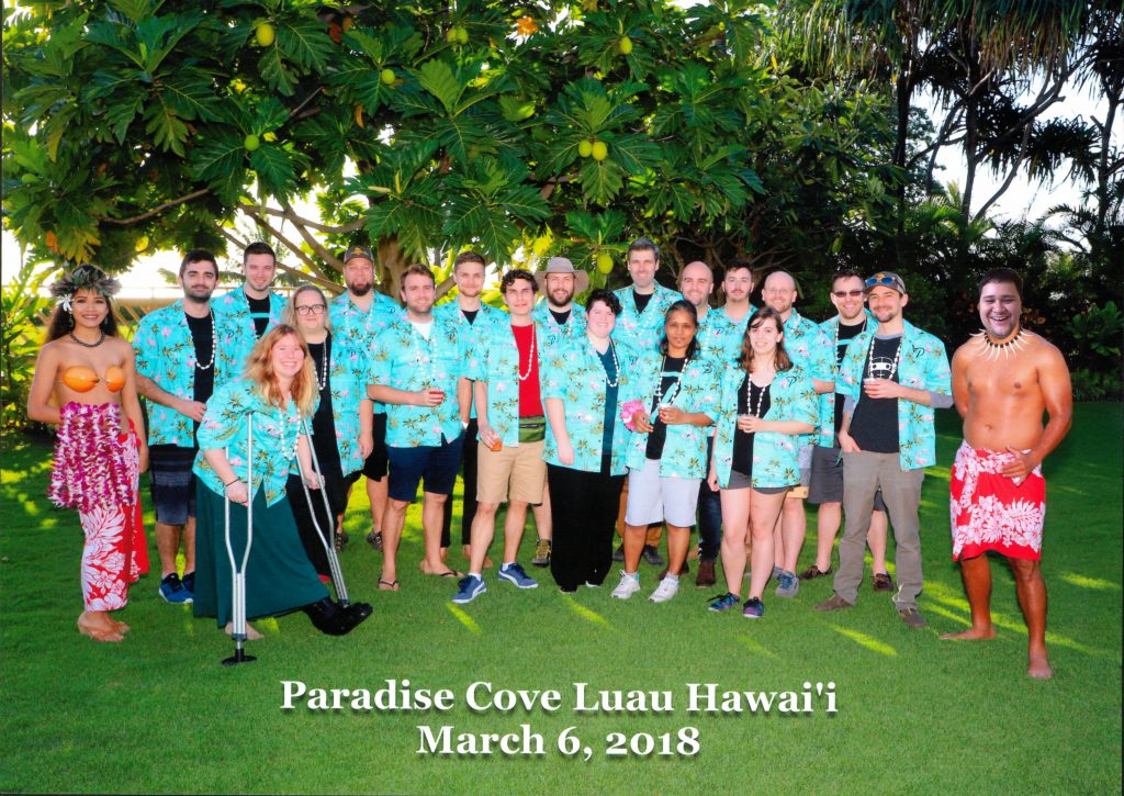 Photo of the team at a Luau