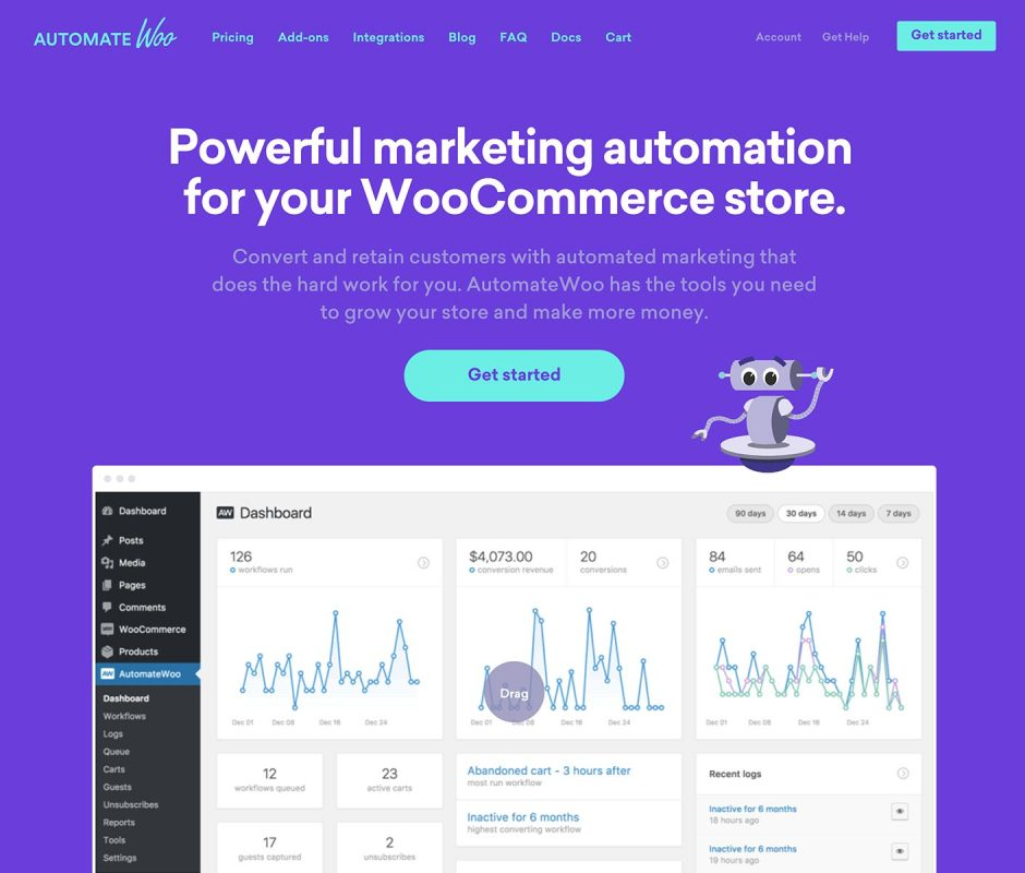 AutomateWoo Homepage Screenshot
