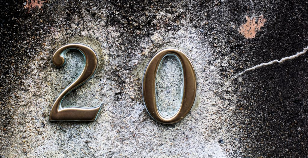 Image of the number 20 on a wall