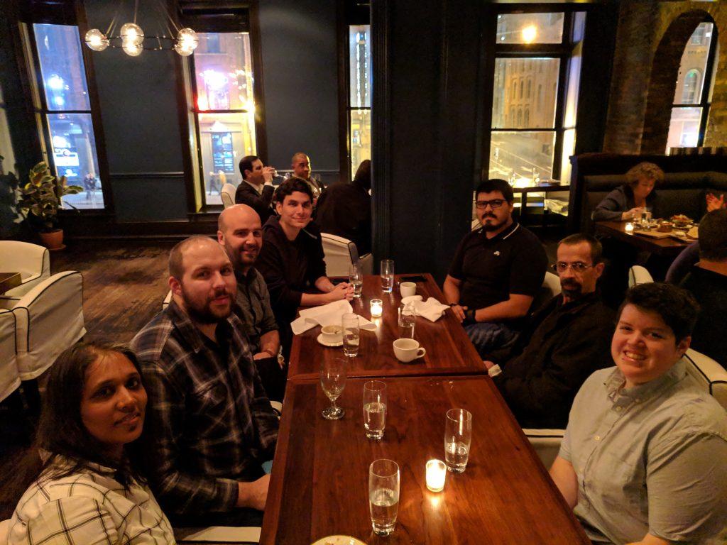 Extensions team at dinner