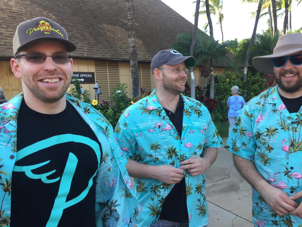 Three men in Hawaiian shirts at Prosparadise