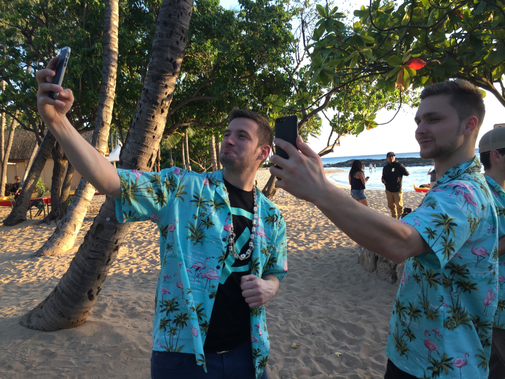 Taking selfies on the beach