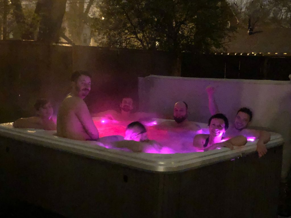 Support team in hot tub
